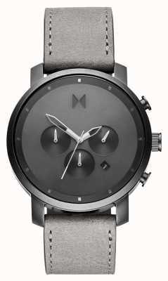 MVMT Хроно 45мм монохромный | серый кожаный ремешок | серый циферблат D-MC01-BBLGR