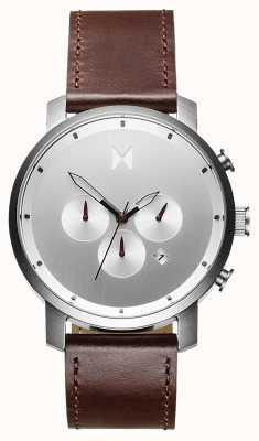 MVMT Хроно 45мм серебристо-коричневый | коричневый ремешок | серебряный циферблат D-MC01-SBRL