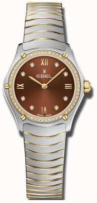 EBEL Классика женского спорта | коричневый циферблат | алмазный набор | нержавеющий 1216443A