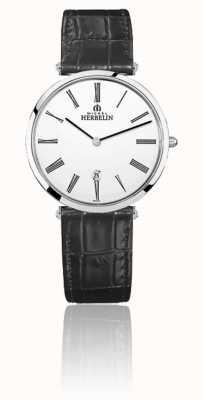 Michel Herbelin | мужские | эпсилон | черный кожаный ремешок | белый циферблат | 19406/01N