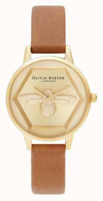 Olivia Burton | 3d пчелы благотворительные часы | медово-коричневый веганский ремень | OB16AM167