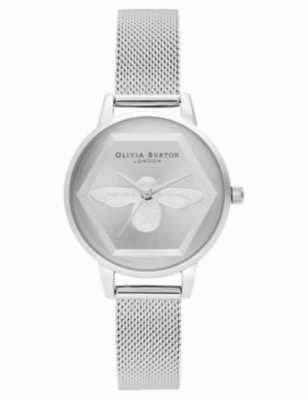 Olivia Burton | 3d пчелы благотворительные часы | серебряная сетка браслет л OB16AM168