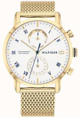 Tommy Hilfiger | мужской золотой браслет из стальной сетки | белый циферблат | 1710403
