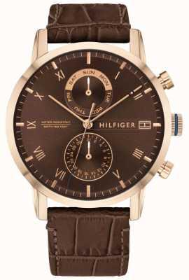 Tommy Hilfiger | мужской коричневый кожаный ремешок | коричневый циферблат | 1710400