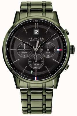 Tommy Hilfiger | мужской браслет с зеленым пвд покрытием | черный циферблат | 1791634