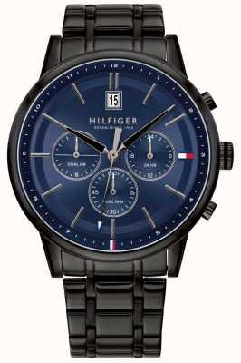 Tommy Hilfiger | мужской браслет с черным ПВХ покрытием | синий циферблат | 1791633