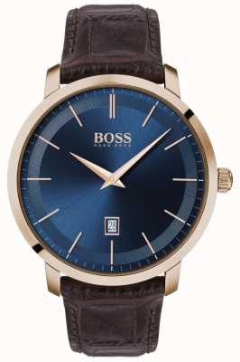 BOSS | мужская премиум классика | коричневый кожаный ремешок | синий циферблат | 1513745