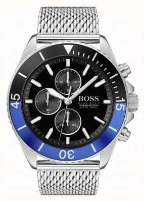 Boss | мужское издание океана | браслет из стальной сетки | черный циферблат | 1513742
