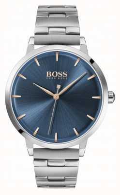 Boss | женская пристань для яхт | браслет из нержавеющей стали | синий циферблат | 1502501