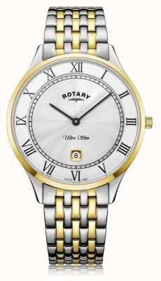 Rotary | мужской ультра тонкий | двухцветная нержавеющая сталь | белый циферблат | GB08301/01