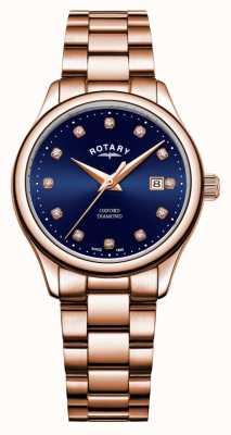 Rotary | женский оксфорд | розовое золото с покрытием из ПВХ | синий циферблат от солнечных лучей | LB05096/05/D
