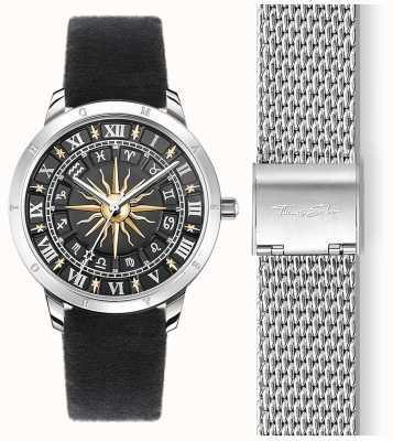 Thomas Sabo | женские солнечные часы | черный бархатный ремешок | черный 3d солнечный циферблат SET_WA0351-217-203-33