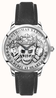 Thomas Sabo | мужские бунтарские духи 3d черепа | черный кожаный ремешок | WA0355-203-201-42