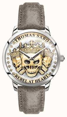 Thomas Sabo | мужские бунтарские духи 3d черепа | золотой циферблат | кожаный ремешок | WA0356-273-207-42
