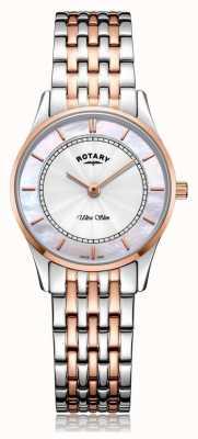 Rotary | женский ультратонкий двухцветный браслет | перламутр | LB08302/07/D