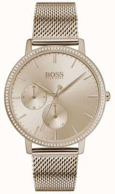 BOSS   женская бесконечность   сетка из розового золота   циферблат из розового золота 1502519