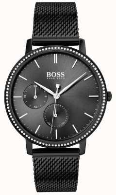 Boss   женская бесконечность   черный сетчатый браслет   черный солнечный циферблат 1502521
