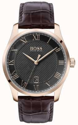 BOSS Мастер | коричневый кожаный ремешок | серый циферблат | 1513740