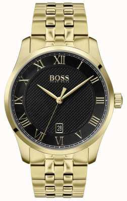 Boss | мужской мастер | золотой браслет из пвд | черный циферблат | 1513739
