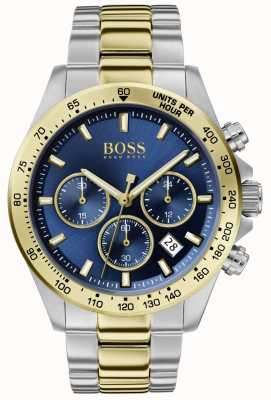 Boss | мужской герой спорт люкс | двухцветный браслет | синий циферблат | 1513767