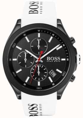 Boss | мужская скорость | белый резиновый ремешок | черный циферблат | 1513718