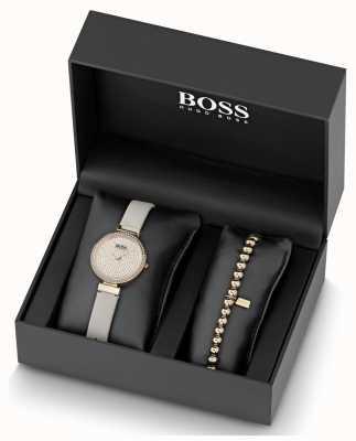 Boss Женские кожаные хрустальные часы и браслет 1570094