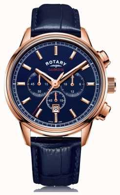 Rotary | мужской кембриджский хронограф | синий циферблат | синяя кожа | GS05399/05