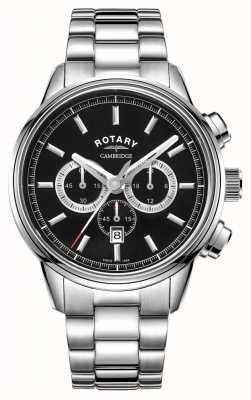 Rotary | мужской кембриджский хронограф | черный циферблат | нержавеющая сталь GB05395/04