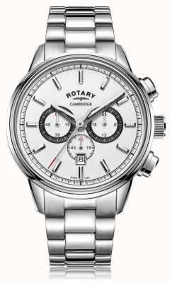 Rotary | мужской кембриджский хронограф | белый циферблат | нержавеющая сталь GB05395/02