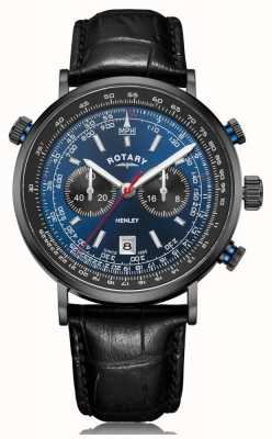 Rotary | Хенли мужской хронограф | синий циферблат | черный кожаный ремешок GS05238/05