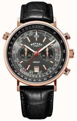 Rotary | Хенли мужской хронограф | серый циферблат | черная кожа | GS05237/20