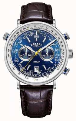 Rotary | Хенли мужской хронограф | синий циферблат | коричневый кожаный ремешок GS05235/05