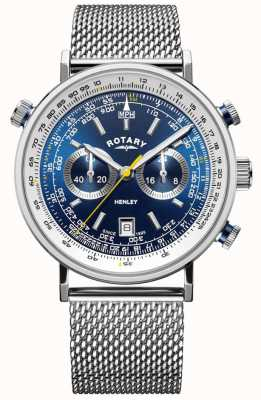 Rotary | Хенли мужской хронограф | браслет из стальной сетки | синий циферблат GB05235/05