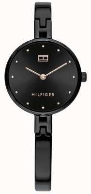 Tommy Hilfiger | женский комплект | черный браслет из нержавеющей стали | черный циферблат 1782136