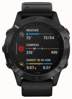 Garmin Феникс 6 про горилла стекло   мультиспортивные умные часы   черный резиновый ремешок 010-02158-02