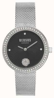 Versus Versace | женская леа | браслет из серебряной сетки | черный циферблат | VSPEN0719
