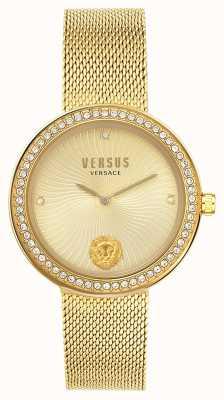 Versus Versace | женская леа | браслет из золотой сетки | золотой циферблат | VSPEN0819