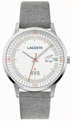Lacoste | мужской мадрид | серый кожаный ремешок | белый циферблат | 2011031