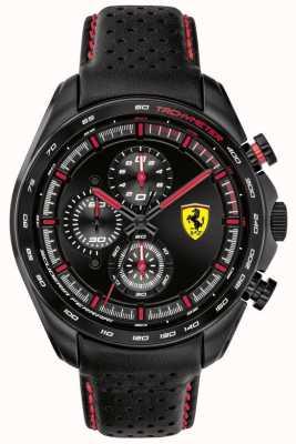 Scuderia Ferrari | мужской скоростной гонщик | черный кожаный ремешок | черный циферблат | 0830647