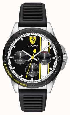 Scuderia Ferrari | мужская пилота | черный резиновый ремешок | черный циферблат хронографа 0830659