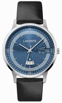 Lacoste | мужской мадрид | черный кожаный ремешок | синий циферблат | 2011034