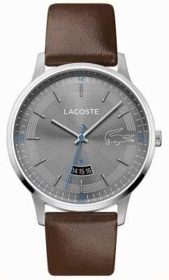 Lacoste | мужской мадрид | коричневый кожаный ремешок | серый циферблат | 2011033