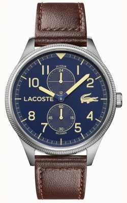 Lacoste | мужской континентальный | коричневый кожаный ремешок | синий циферблат | 2011040