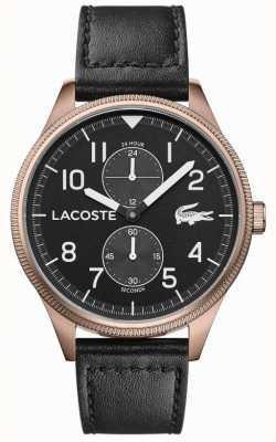 Lacoste | мужской континентальный | черный кожаный ремешок | черный циферблат | 2011042