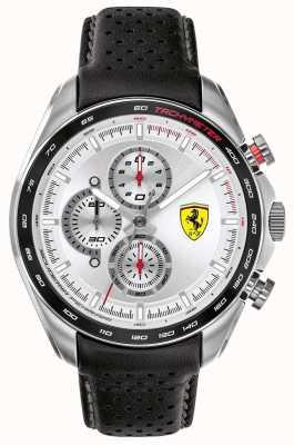 Scuderia Ferrari | мужской скоростной гонщик | черный кожаный ремешок | серебряный циферблат | 0830651