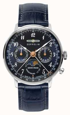 Zeppelin Lz129 Гинденбург кварцевые часы день / дата фаза луны синий циферблат 7037-3