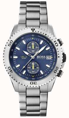 Boss | Вела | хронограф | стальной браслет | синий циферблат | 1513775
