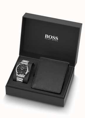 Boss | мужские | часы и набор черный кожаный кошелек | 1570093