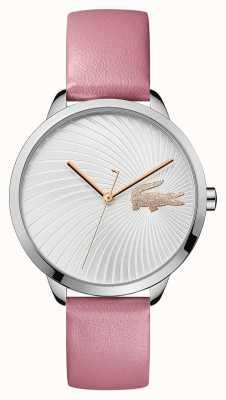 Lacoste | женская лекси | розовый кожаный ремешок | серебряный циферблат | 2001057