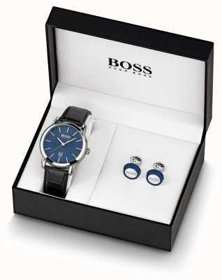 Boss | мужские | синие часы и запонка | 1570092